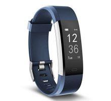 moreFit Fitness Tracker Slim HR Plus Heart Rate Smart Bracelet Pedometer Wearable Waterproof Activity Tracker Watch Silver Blue