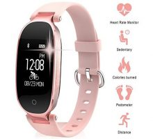 Smart Gym Bracelet TechCode Bluetooth Waterproof Smart Sports Watch Fashion Ladies Heart Rate Monitor Fitness Tracker Girls Wristband for Android IOS iPhone X 8 7 6 Samsung S8 S9+
