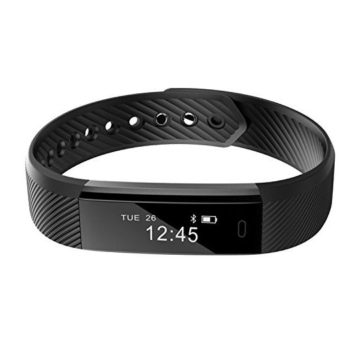 Smart BraceletREDGO Bluetooth Pedometer Bracelet Fitness Tracker with Touch Screen Calorie Distance Step Count Sleep Monitor Sports Activity Tracker for Men Women Boys Girls Ladies Man Black