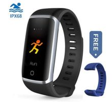 Waterproof Fitness Tracker Bluetooth Activity Tracker Compatible Android iOS Color Screen Smart Bracelet IPX68 Heart Rate Monitor Step Calorie Counter Replaceable Wrist Band Blue Men Women Kids