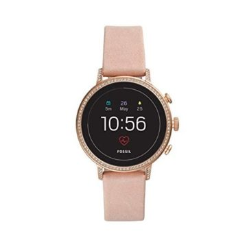 Fossil Women Gen 4 Venture HR Stainless Steel and Leather Touchscreen Smartwatch Color Rose Gold Pink