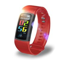Hagile Fitness Tracker HC962 Color Screen Bluetooth Sports Bracelet Smart Fitness Tracker with Blood Pressure Heart Rate Sleep MonitorWaterproof Pedometer Wristband for Android and iOS(Red)