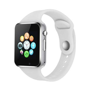 Bluetooth Smart Watch Compatible iOS iPhone Android System Qidoou Wrist Watch Camera SIM Card Sleep Monitor Step Calories Tracker Alarm Clock Call Message Reminder AntiLost Adults Kids(White)