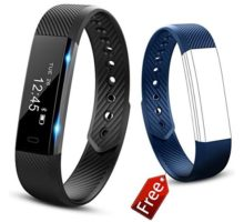 JIUXI Fitness Tracker Waterproof Bluetooth Smart Bracelet Pedometer Sleep Monitor Calorie Counter Activity Tracker Smart Watch with Replacement Band for Android & IOS