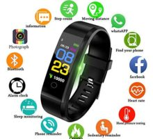 Fitness TrackersLIGE 096inch Color Screen Unisex Smart Bracelet with Heart Rate Monitor Sleep Monitoring Calorie Counter Sports Bracelet Waterproof Pedometer Fitness Watch Black