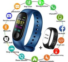 LIGE Fitness TrackersColor Screen Waterproof Smart Sports Watch Bracelet Heart Rate Blood Pressure Monitor Men Women Pedometer Activity Tracker Blue Bracelet + Free Black Band