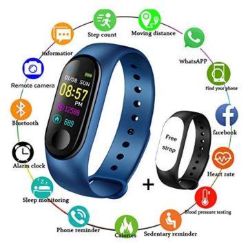 LIGE Fitness TrackersColor Screen Waterproof Smart Sports Watch Bracelet Heart Rate Blood Pressure Monitor Men Women Pedometer Activity Tracker Blue Bracelet + Free Black Band