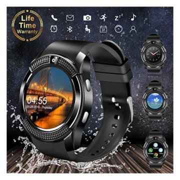 Smart WatchBluetooth Smartwatch Touch Screen Wrist Watch with Camera SIM Card SlotWaterproof Smart Watch Sports Fitness Tracker Android Phone Watch Compatible with Android Phones Samsung Huawei