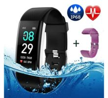 Fitness Tracker Color Screen IP68 Waterproof Activity Tracker Smart Watch Remote Photography Heart Rate Blood Pressure Blood Oxygen Monitor Step Calorie Counter Pedometer for Women Men Kids