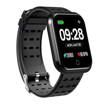 Surpro Smart Watch Wearable Bluetooth Running GPS Fitness Tracker Watch with Heart Rate Monitor Waterproof Smart Wristband Pedometer Watch for Kids Woman Man Black