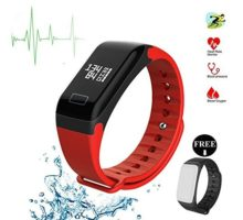 Fitness TrackerSmart Bracelet Wireless Bluetooth 40 Sports Band with Pdeometer Sleep Monitoring Calories Track for Daily Activity and Sleeping for Android iOS iPhone(Red + Black Band)