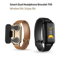 JYS365 T89 Heart Rate Blood Pressure Sleep Monitor Pedometer Smart Bracelet with Bluetooth Earphones Gift Black