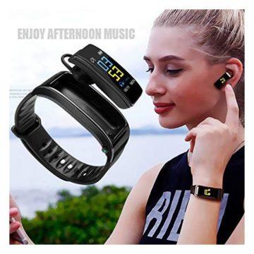 Wgch Smart Bracelet Waterproof Smart Watch Wristband 2 in 1 Smart Bracelet Band with Bluetooth Earbuds Heart Rate Monitor for Men Women