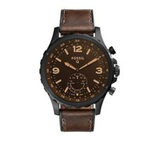 Fossil Q Men Nate Stainless Steel and Leather Hybrid Smartwatch Color Black Brown