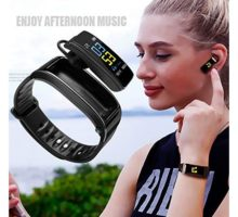Tiakino 2 in 1 Smart Bracelet with Bluetooth Earbuds Heart Rate Monitor Waterproof Watch for Women and Men