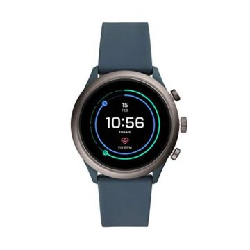 Fossil Men Gen 4 Sport Heart Rate Metal and Silicone Touchscreen Smartwatch Color Grey Blue
